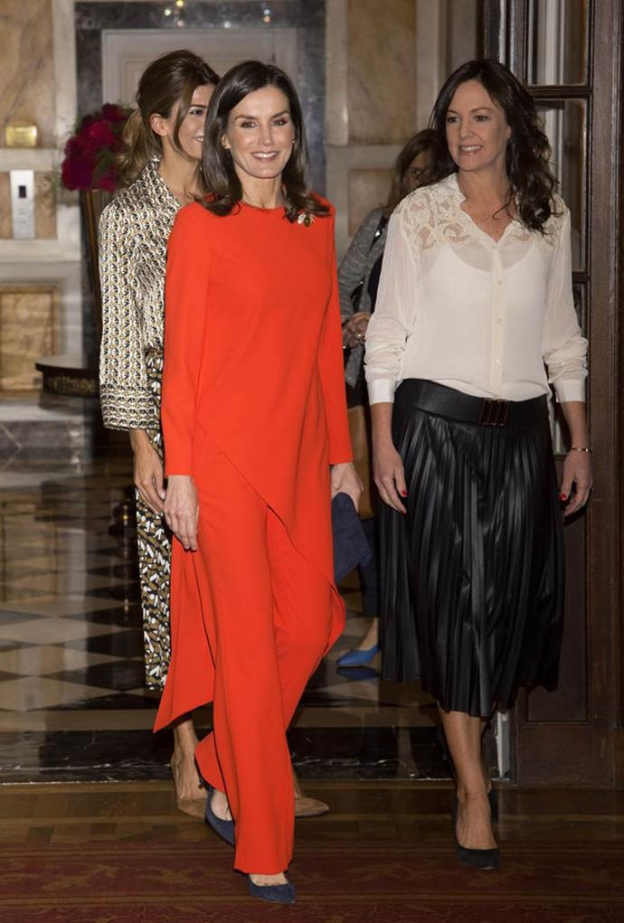 Queen Letizia of Spain in a $39.95 AUD top and $29.95 trousers, both by ZARA, in March 2019. <br><br> *Image: Getty*