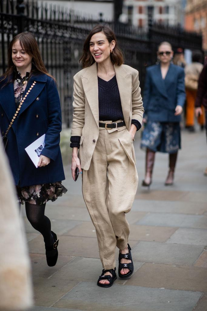 Alexa Chung in a $320 AUD suit by H&M at London Fashion Week in February 2019. <br><br> *Image: Getty*
