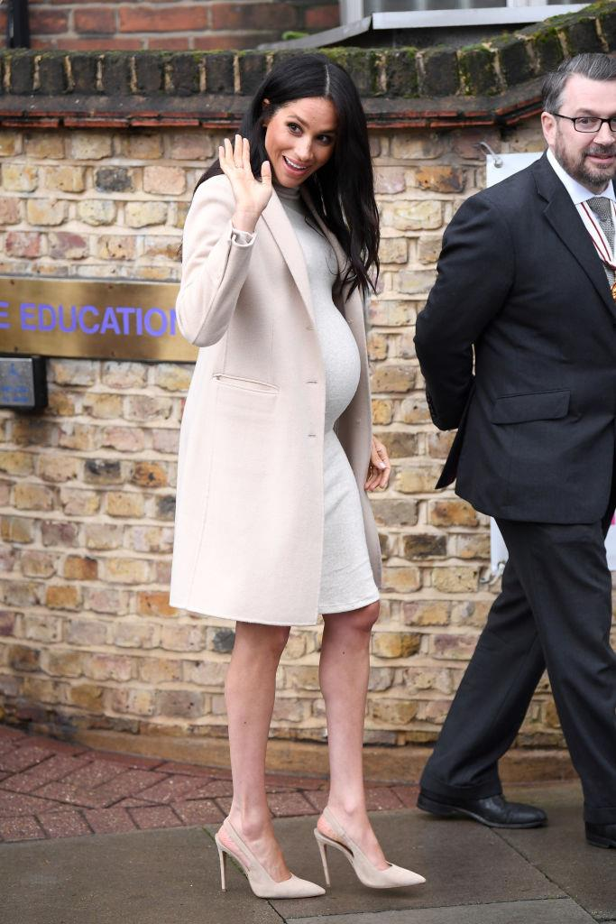Meghan Markle, the Duchess of Sussex in a $50 AUD maternity dress by H&M in London in January 2019. <br><br> *Image: Getty*