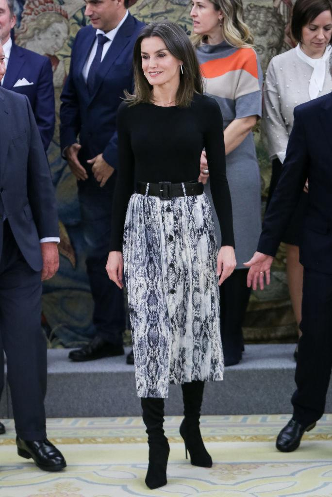 Queen Letizia of Spain in a $29 AUD printed skirt by ZARA in January 2019. <br><br> *Image: Getty*