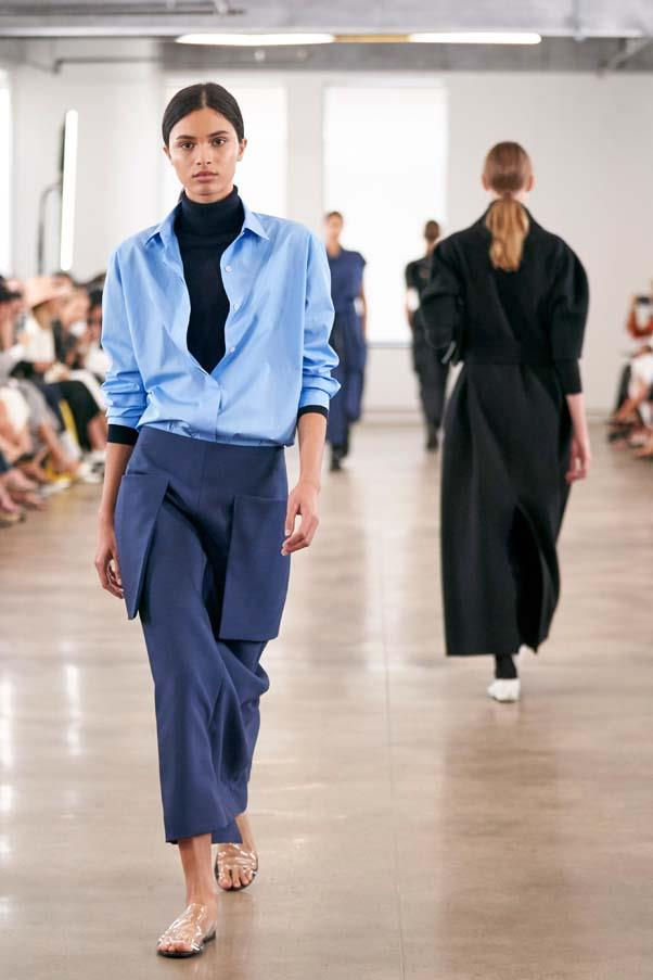 **The Row** is a brand that worships at the altar of simplicity, which means the smallest injections of colour—like the boxy lilac blouses at SS'20—are cause for comment. The whole collection, from the PVC sandals to the oversized woollen coats, was impeccable.