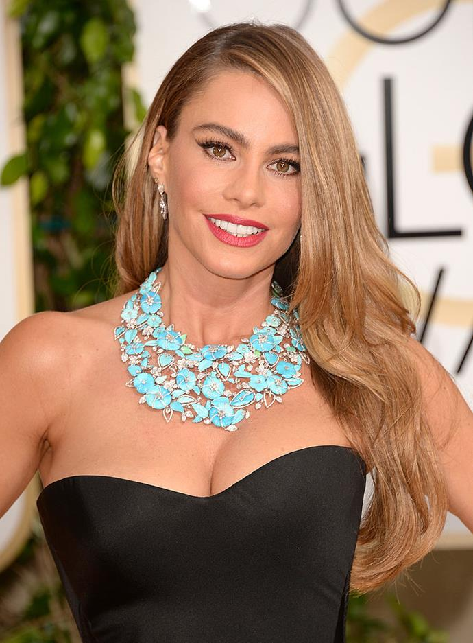 """**Sofia Vergara** <br><br> Vergara has experimented with hair colours and even a fleeting fringe, but [by her own admission](https://fashionmagazine.com/beauty/sofia-vergara-head-and-shoulders/
