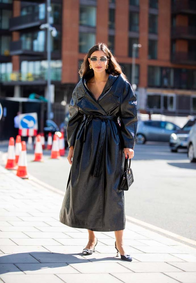 **Trend: Enter The Matrix**<br><br> Maybe it's the news of the incoming reboot, but *Matrix*-reminiscent leather coats and pants (as well as some thin rectangle sunglasses, for effect) were big on the ground.