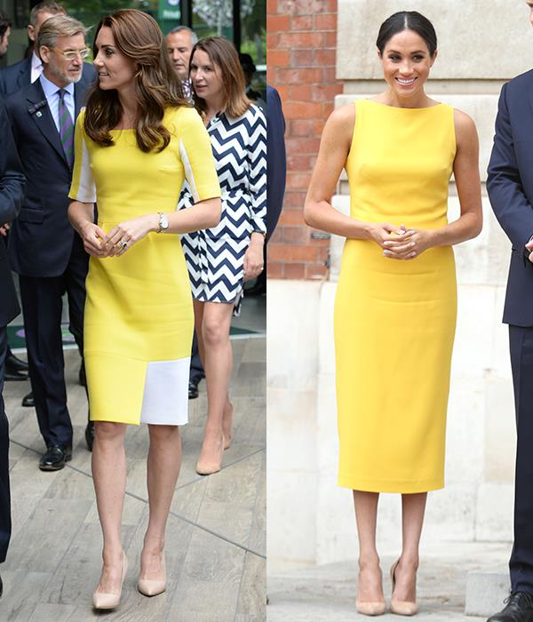 In yellow sheath dresses and nude pumps.