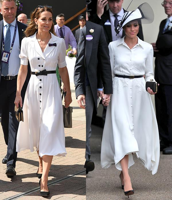 In white shirt-dresses with black belts and pumps.
