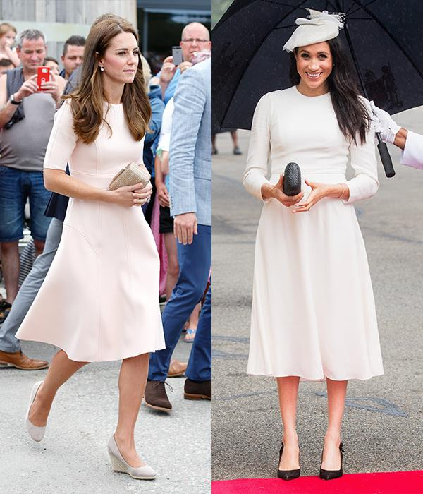 In A-line midi dresses with sleeves and pumps.