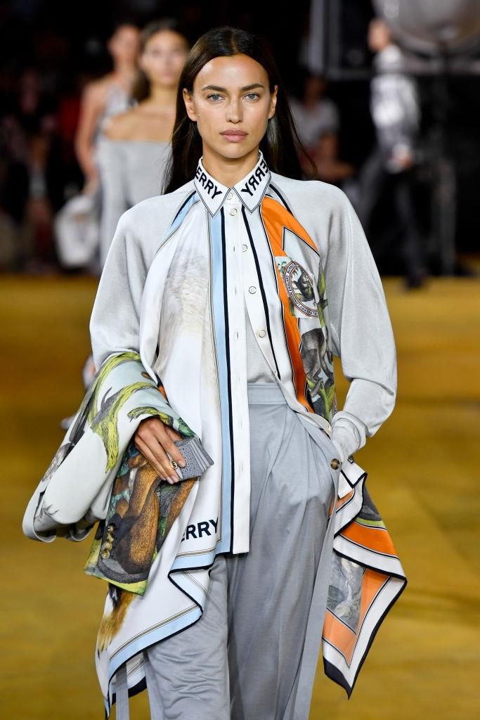 Irina Shayk walking for Burberry spring/summer 2020 at London Fashion Week.