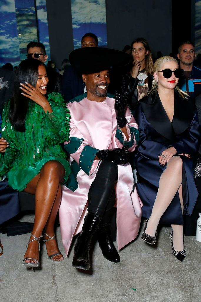Maya Jama, Billy Porter and Christina Aguilera at Christopher Kane.