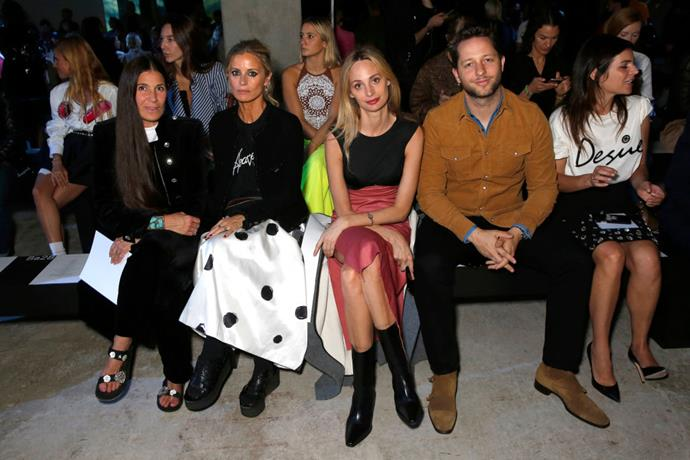 Elizabeth Saltzman, Laura Bailey, Lauren Santo Domingo and Derek Blasberg at Christopher Kane.