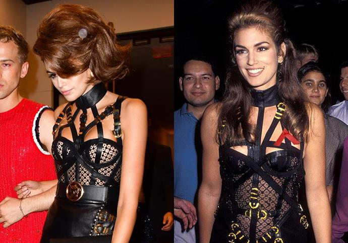 **Kaia Gerber and Cindy Crawford** <br><br> For her 18th birthday party in September 2019, Gerber wore a re-vamped version of the iconic Gianni Versace leather dress that her mother, Cindy Crawford, wore to the MTV VMAs in 1992 (paired with equally huge hair, no less).