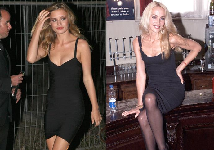 **Georgia May Jagger and Jerry Hall** <br><br> Jagger has made a habit of wearing outfits worn first by her supermodel mother, Jerry Hall—here she is in 2011 wearing a body-con LBD similar to one her mother wore in 2000.