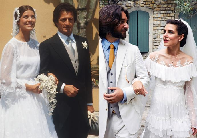 **Charlotte Casiraghi and Princess Caroline** <br><br> For her star-studded wedding in June 2019, Monaco royal Charlotte Casiraghi wore a lace Giambattista Valli gown inspired by her mother, Caroline, Princess of Hanover's wedding dress.