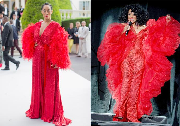 **Tracee Ellis Ross and Diana Ross** <br><br> *Black-ish* actress Tracee Ellis Ross is arguably almost as much of a fashion icon as her famous mother, Diana Ross. In 2017, Ellis Ross directly channelled her mother's vibrant style with this sequinned Moschino gown, which was inspired by one of her mother's performance dresses from the 1980s.
