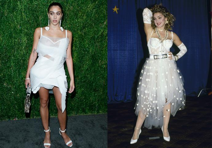 **Lourdes Leon and Madonna** <br><br> For an event in November 2018, Madonna's 22-year-old daughter Lourdes Leon channelled one of her mother's most iconic looks—a modern-day variation of Madonna's famous white tulle 'wedding dress', which she wore to the 1984 MTV VMAs.