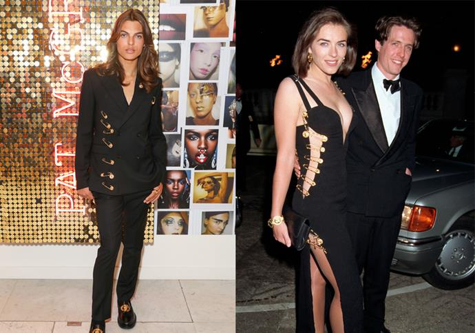 "**Damien Hurley and Elizabeth Hurley** <br><br> For a [Pat McGrath](https://www.elle.com.au/beauty/how-to-buy-pat-mcgrath-labs-in-australia-13912|target=""_blank"") event in 2019, Elizabeth Hurley's lookalike son wore a safety-pin-adorned black suit by Versace, which was reminiscent of the revealing Versace gown that shot his mother to worldwide fame in the mid-'90s."