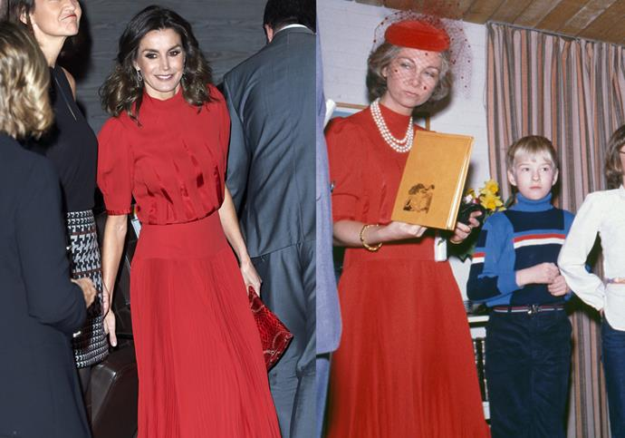**Queen Letizia and Queen Sofia of Spain** <br><br> While not technically belonging to her biological mother, Spanish royal Queen Letizia wore a red dress in December 2018 that was originally worn by her mother-in-law, Queen Sofia of Spain, in 1980.