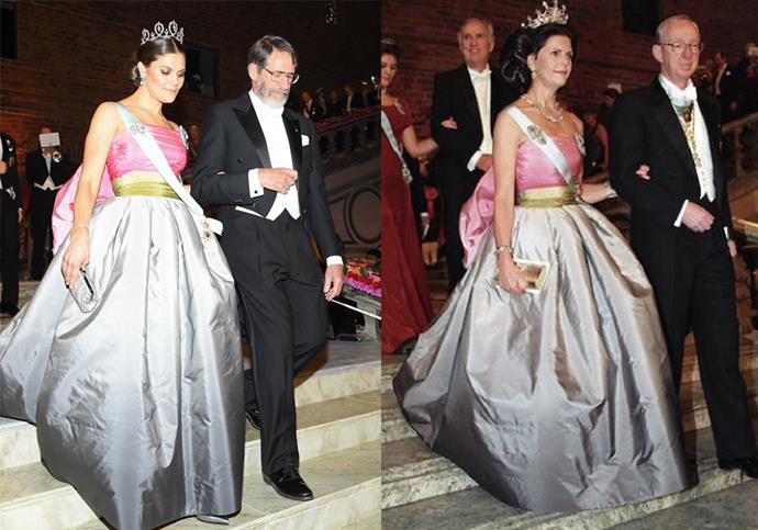 **Crown Princess Victoria and Queen Silvia of Sweden** <br><br> In November 2018, Crown Princess Victoria of Sweden paid a sweet homage to her mother, Princess Silvia, by wearing the same dress she wore to a similar royal ball in 1995.