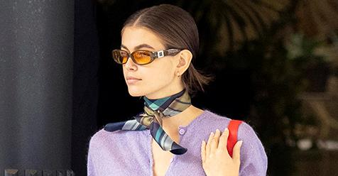 Kaia Gerber Makes A Cardigan Stylish At Milan Fashion Week   Harper's BAZAAR Australia