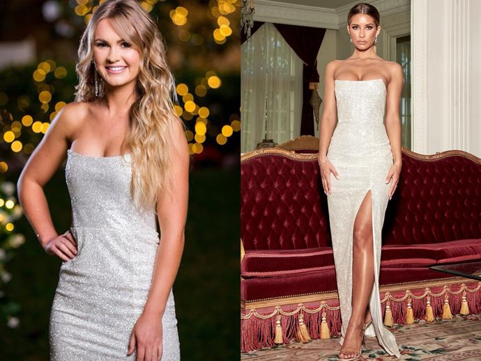 "Chelsie wears the 'Sierra' gown, $249 by [Meshki](https://www.meshki.com.au/collections/prom-formal-dresses/products/sierra-maxi-dress-silver?variant=14057662644299|target=""_blank""