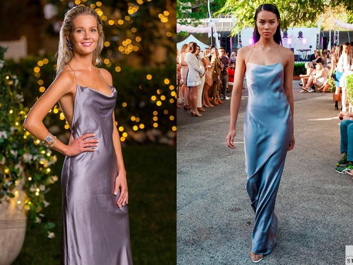 "Helena wears the 'Virgo' gown in silver, $680 by Natalie Rolt, in [episode 15](https://www.natalierolt.com/collections/all/products/virgo-gown?variant=14560848445529|target=""_blank""