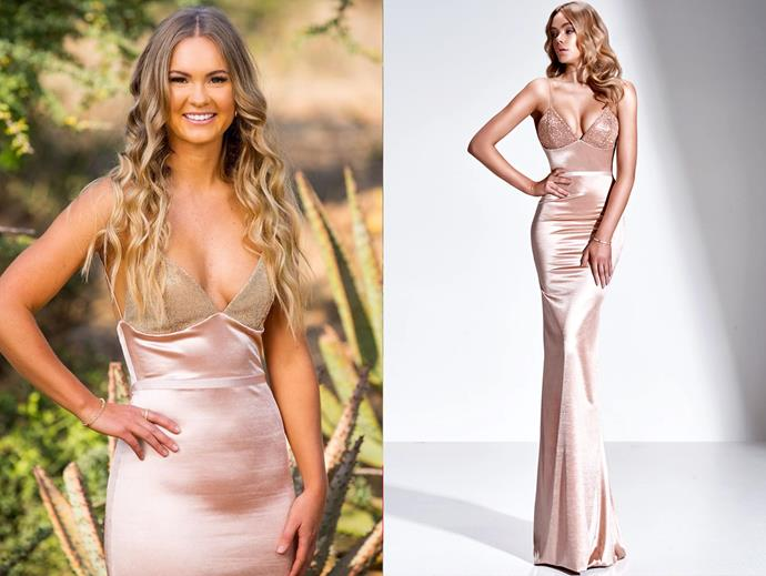 "Chelsie wears the 'Viktorr' gown, $999 by [Gemeli Power](https://www.gemelipower.com/collections/gemeli-power-decoree/products/viktorr|target=""_blank""
