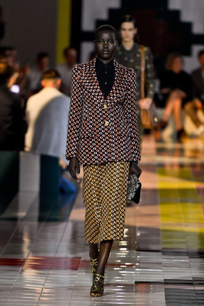 Though **Prada**'s aesthetic is inextricably associated with minimalism, Miuccia Prada continued to show her love for prints this season, sending plenty of vibrant, '60s-reminiscent patterns down the runway.