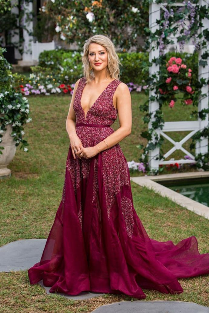 *Hannah in Georgia Young Couture*<br><br> Although Hannah didn't progress very far in the competition, her oxblood Georgia Young gown—featuring cascading beaded detailing, a belted waist and a flounced hem—made a big first impression in episode one.