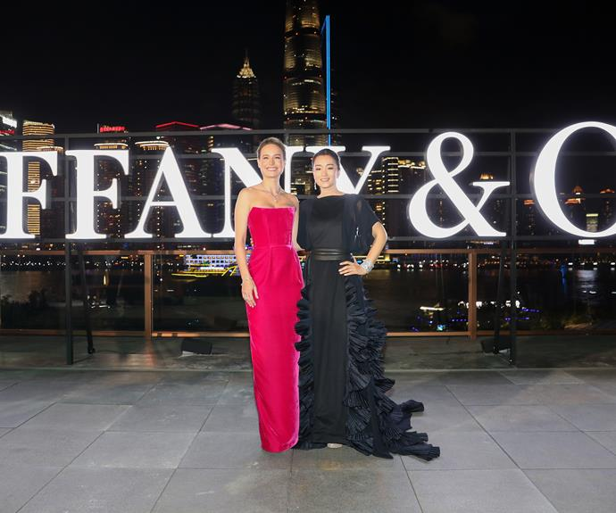 Brie Larson and Gong Li, both in Tiffany & Co. jewellery, at Tiffany & Co's new exhibition in Shanghai, September 2019.