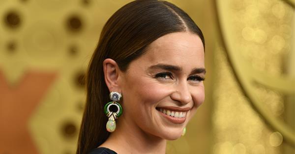 Emilia Clarke Wears Plunging Gown On Emmys 2019 Red Carpet | Harper's BAZAAR Australia