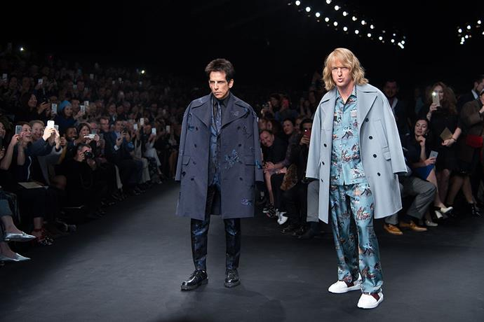 """**Ben Stiller and Owen Wilson for Valentino autumn/winter 2015/2016 at Paris Fashion Week**<br><br>  In what might be the most amusing celebrity runway cameo of all time, Ben Stiller and Owen Wilson appeared on Valentino's autumn/winter 2015/2016 runway as their *Zoolander* characters, strutting down the catwalk to Human League's """"Don't You Want Me?""""."""