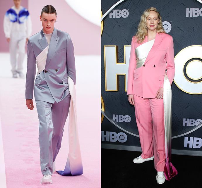 Gwendoline Christie wearing Dior Homme spring/summer 2020.