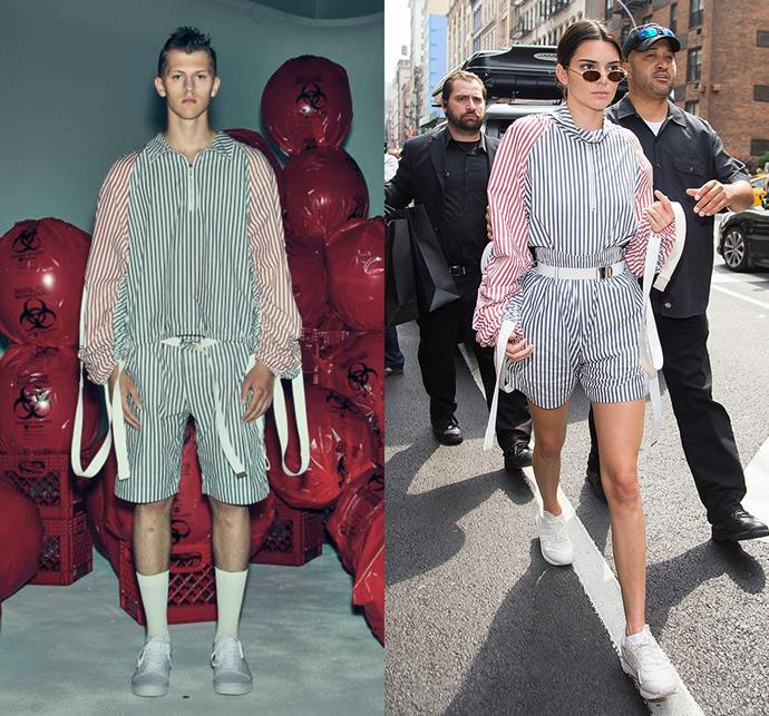 Kendall Jenner wearing Private Policy menswear spring/summer 2017.