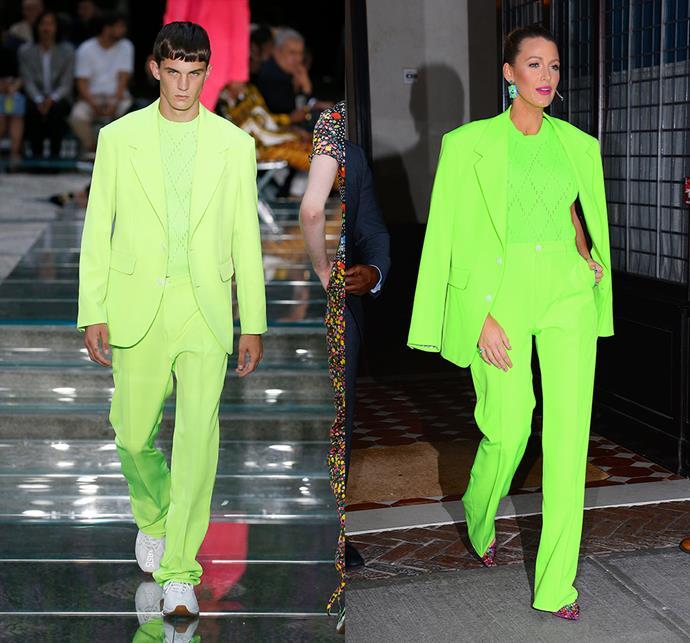 Blake Lively wearing Versace menswear spring/summer 2019.