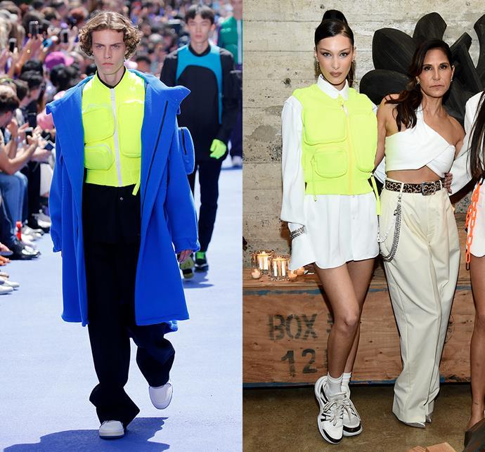 Bella Hadid wearing Louis Vuitton menswear spring/summer 2019.