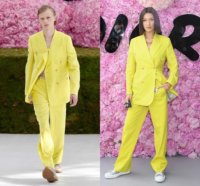 Bella Hadid wearing Dior Homme spring/summer 2019.