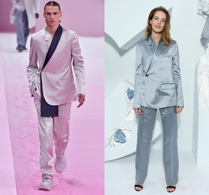 Natalia Vodianova wearing Dior Homme spring/summer 2020.