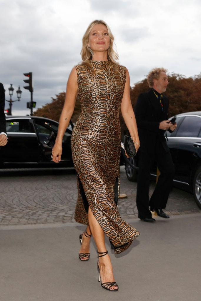In a leopard print gown at Paris Fashion Week spring/summer '20 in September 2019.