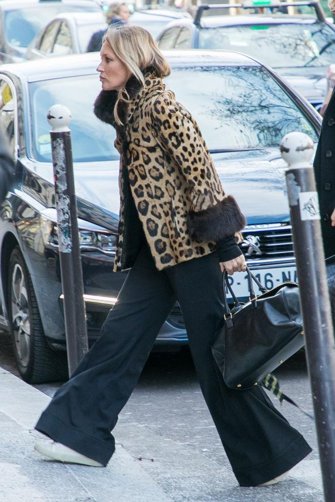 In a leopard print jacket with fur detail in February 2018.