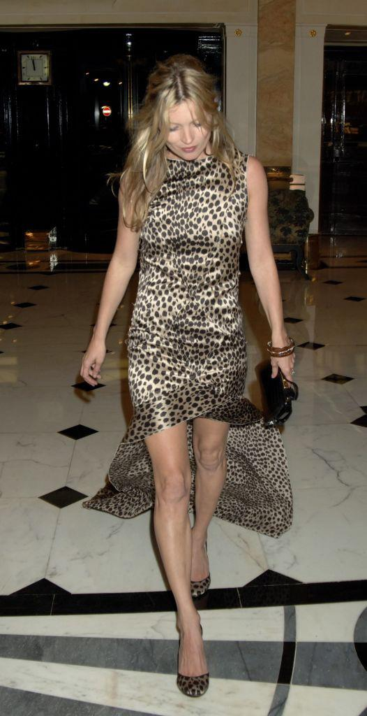 In a leopard print short gown with train in June 2006.
