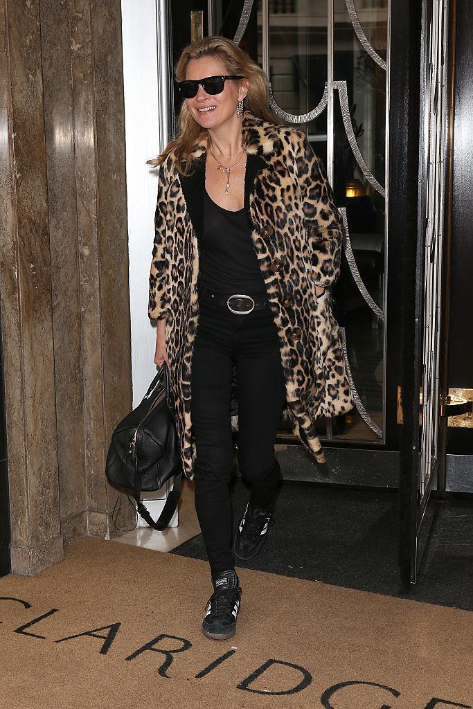 In a long leopard print coat in September 2015.