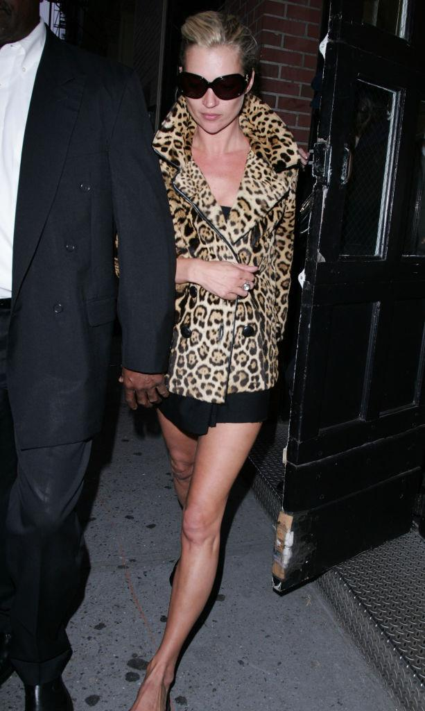 Leaving a New York nightclub in a leopard print coat in September 2006.