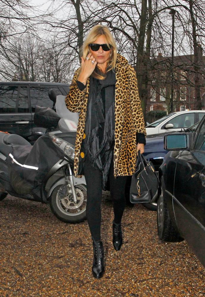In a leopard print coat in January 2012.