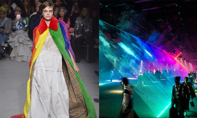 "**Burberry autumn/winter '18** <br><br> Before renouncing his title as Burberry's creative director, British designer Christopher Bailey incorporated themes of unity and acceptance in his final runway show, with a message supporting the LGBTQ+ community. <br><br> Of the collection, Bailey wrote on Instagram: ""My final collection here at Burberry is dedicated to and in support of - some of the best and brightest organisations supporting LGBTQ+ youth around the world. There has never been a more important time to say that in our diversity lies our strength, and our creativity."""