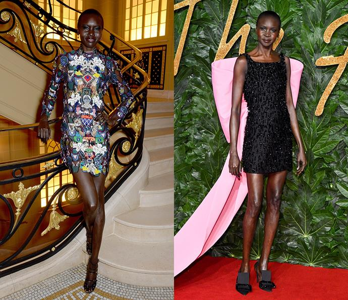 ***Alek Wek***<br><br> Whether it's neon-green socks or a giant bubblegum-pink bow, Wek is known to inject doses of colour into her looks.