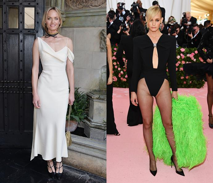 ***Amber Valletta***<br><br> Often treading on the daring side of fashion (case in point: a body suit cut up to *there* and a neon-green feather jacket at the 2019 Met Gala), '90s icon Amber Valletta does sex appeal and does it well.