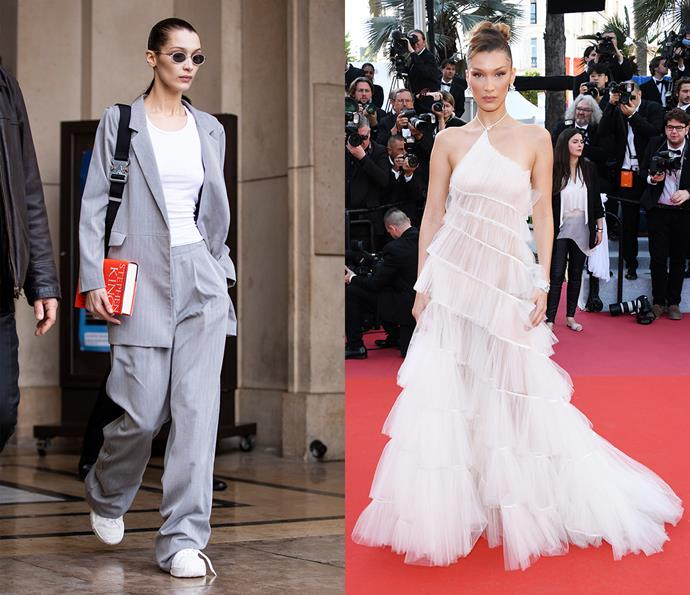 ***Bella Hadid***<Br><br> While she usually goes sexy and fashion-forward on the red carpet, Bella Hadid's much-watched street style is all about the '90s influence.