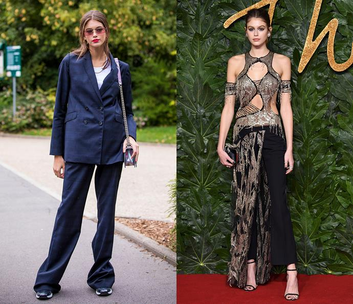 ***Kaia Gerber***<br><br> Fast-tracking her way to supermodel status, Kaia Gerber's signature '90s touches, Converse sneakers and relaxed fits are balanced out by her glitzy red carpet style.