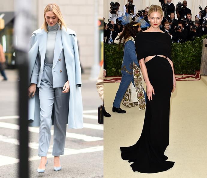 ***Karlie Kloss***<br><br> Preferring to wear simple looks elevated with daring cuts and smart layering (her head-to-toe blue look stands out as a favourite), Karlie Kloss' style is always a breath of fresh air.