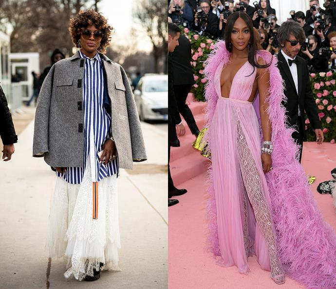 ***Naomi Campbell***<br><br> One thing Naomi Campbell's style never is? Boring. From attending couture shows in off-the-runway fits to custom couture on the red carpet, Campbell's signature is all about standing out.