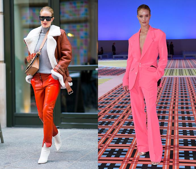 "***Rosie Huntington-Whiteley***<br><br> If you asked us to name the most stylish model in the world, Rosie Huntington-Whiteley's name is certainly in the mix. Her immaculate red-carpet style (which swings from custom Oscar de la Renta gowns to Versace [menswear](https://www.harpersbazaar.com.au/fashion/female-celebrities-wearing-menswear-19331|target=""_blank"") suits) and her enviable street-style make her a double-threat."